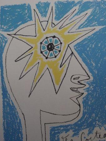 Lithograph Cocteau - Le profil  oeil à l' etoile