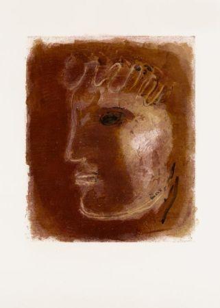 Lithograph Fautrier - Le Profil rouge (1942)