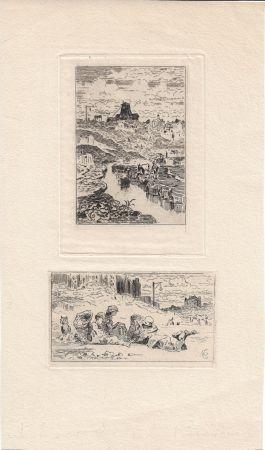 Etching Buhot - Le puits de la Butte-aux-Cailles [and] Les chiffonniers