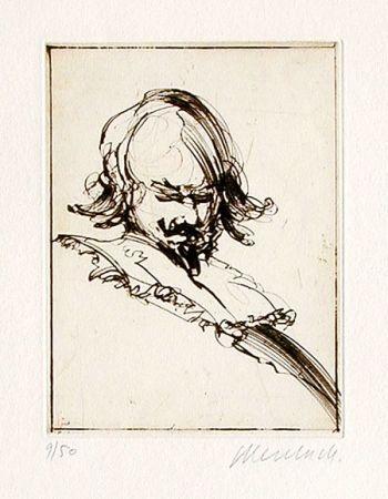 Engraving Weisbuch - Le repos de Don Quichote