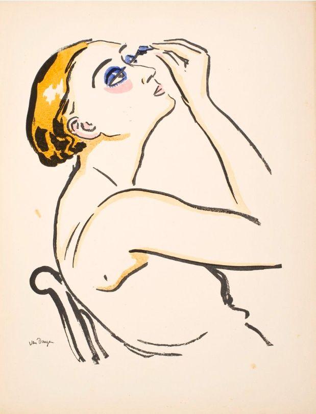 Pochoir Van Dongen - Le Rimmel, femme se maquillant.
