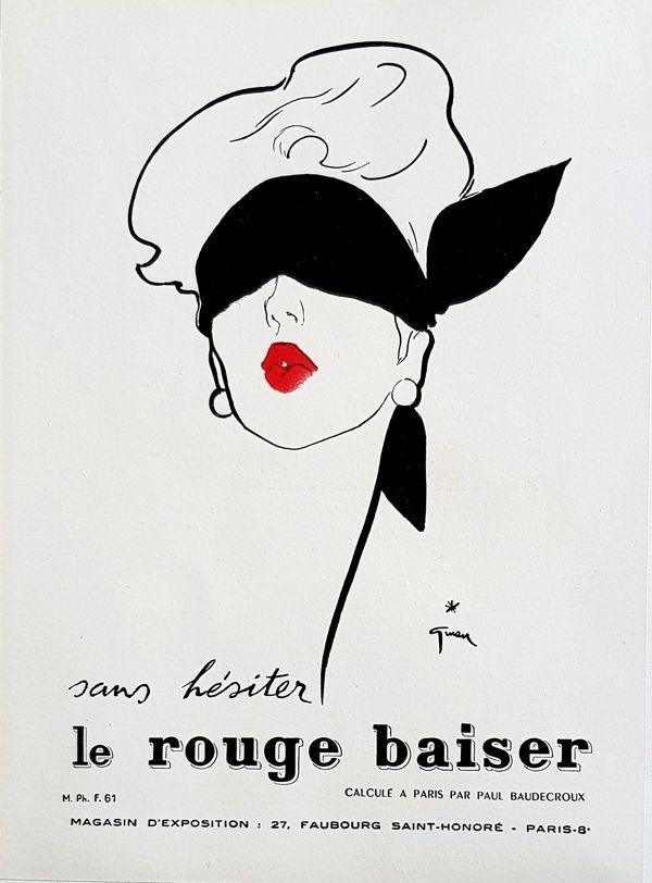 Lithograph Gruau - Le Rouge  Baiser  Permet le Baiser