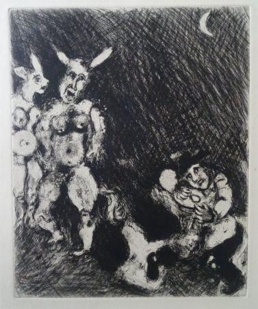 Engraving Chagall - Le Satyr et le passant