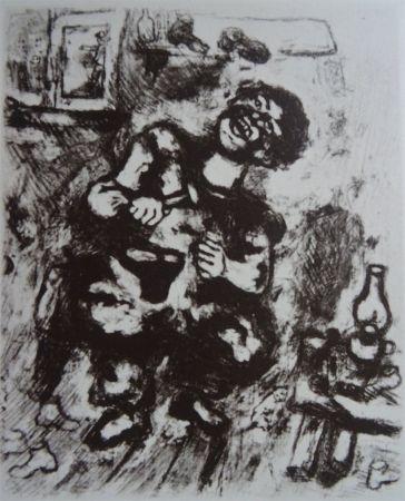 Engraving Chagall - Le Savetier et le Financier