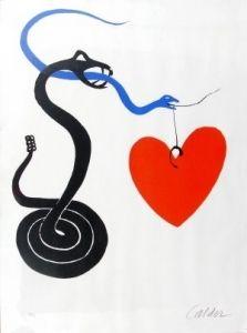 Lithograph Calder - Le serpent au coeur