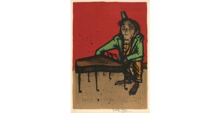 Lithograph Buffet - Le singe musicien, 1968.