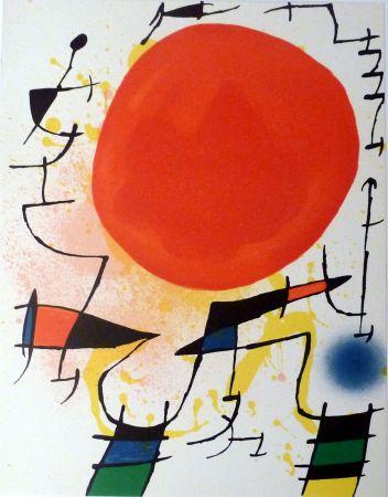 Lithograph Miró - Le Soleil Rouge