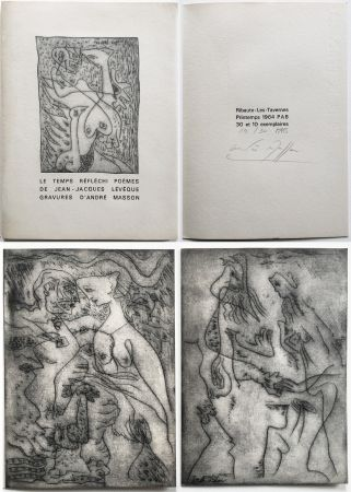 Illustrated Book Masson - LE TEMPS RÉFLÉCHI. Poèmes de J.J Lévèque. 3 pointes-sèches sur celluloïd (PAB 1964).