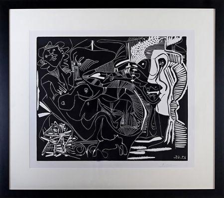 Linocut Picasso - Le Thé: Deux Femmes Nues et une Chat (B. 1851)