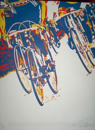 Lithograph Rancillac - Le tour de france
