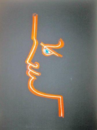 Lithograph Cocteau - Le trait de feu (Black)
