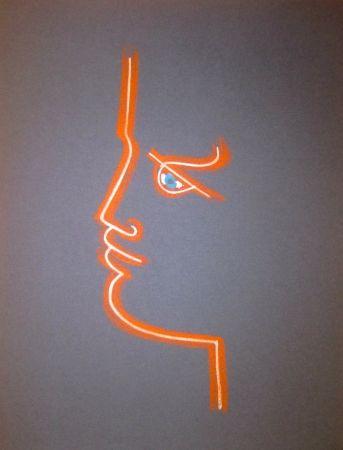Lithograph Cocteau - Le trait de feu (Blue)