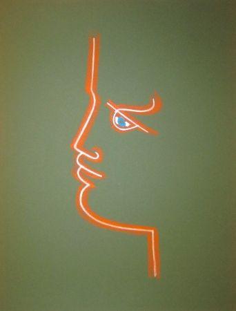 Lithograph Cocteau - Le trait de feu (Green)