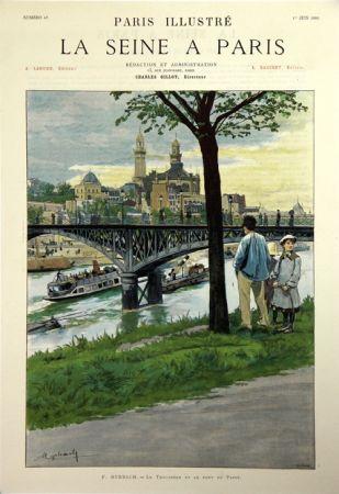 Lithograph Grasset - Le Trocadero et le Pont de Passy