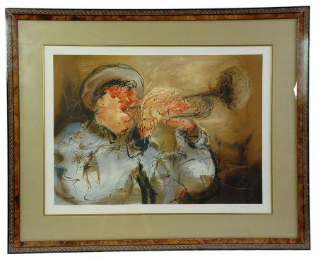 Lithograph Urdin  - Le Trompettiste - The Trumpeter