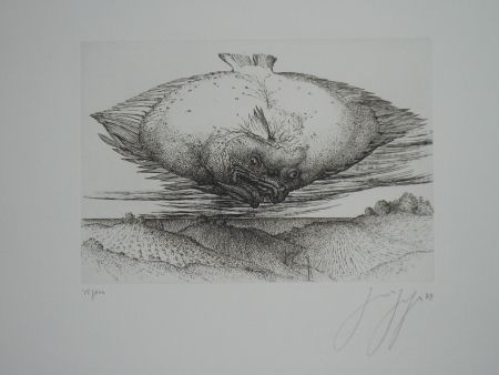 Engraving Grass - Le turbot