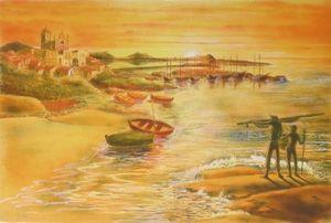 Lithograph Totero - Le veil homme et la mer