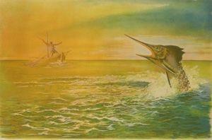 Lithograph Totero - Le viel homme et la mer