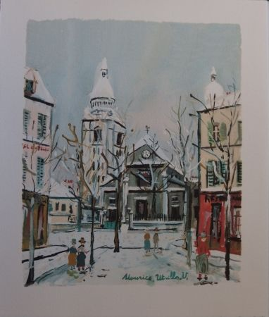 Pochoir Utrillo - Le Village inspire - Saint Pierre church in Montmartre
