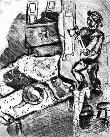 Engraving Chagall - Le Villageois et le serpent