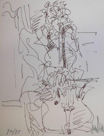 Lithograph Paul  - LE VILONCELLISTE / THE VIOLONCELLIST - Lithographie Originale / Original Lithography