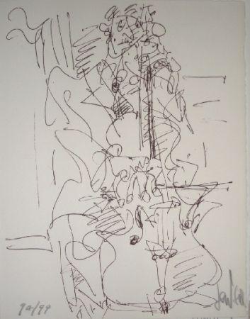 Lithograph Paul  - Le violoncelliste