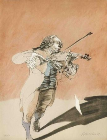 Lithograph Weisbuch - Le violoniste