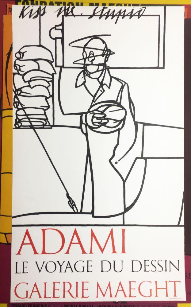 Lithograph Adami - LE VOYAGE DU DESSIN. Adami 1975 (affiche originale).