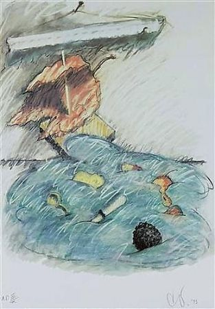 Lithograph Oldenburg - Leaf Boat-Storm In The Studio