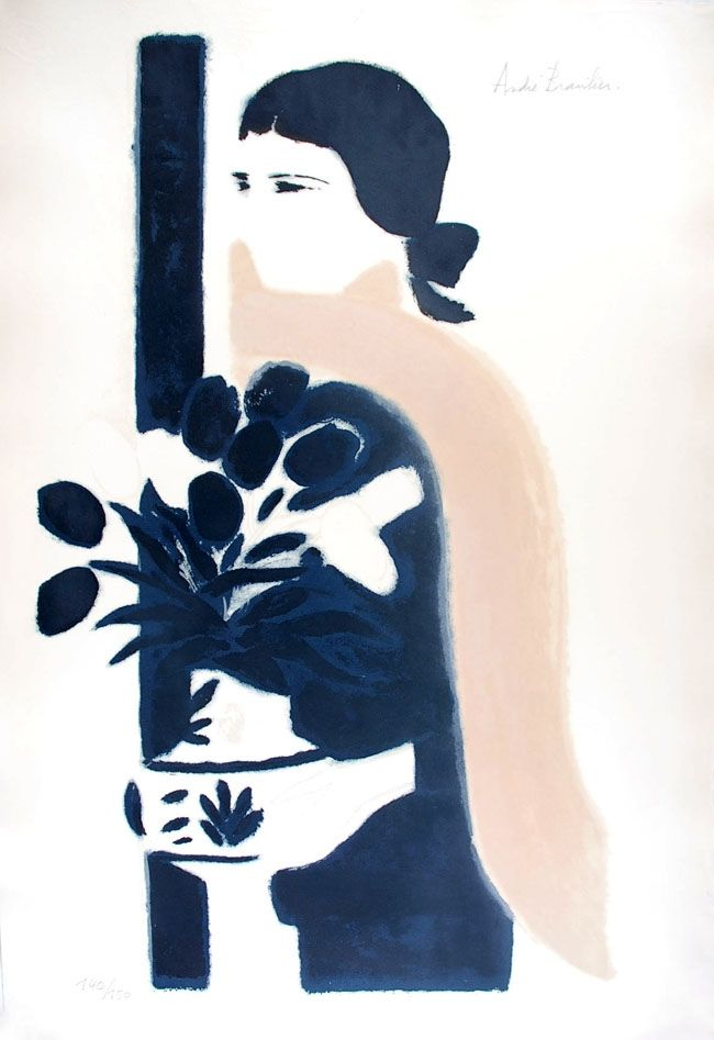 Lithograph Brasilier - L'Echarpe Rose