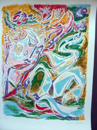 Lithograph Masson - Leda