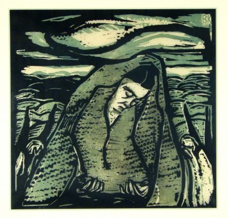Woodcut Koller-Pinell - Leid (Grief)