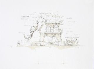 Lithograph Delarozière - L'elephant