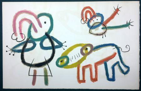 Lithograph Miró - L'Enfance d' Ubu. 13ème planche. 1975