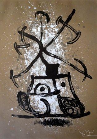 Lithograph Miró - L'entraineuse brun