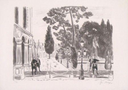 Lithograph Brayer - L'entree du palais