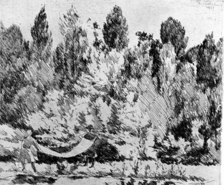 Engraving Castellani - Lenzuola al sole