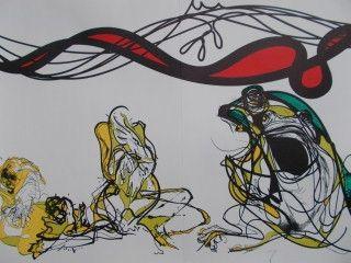 Lithograph Moretti - Les 10 plaies de l'egypte les grenouilles