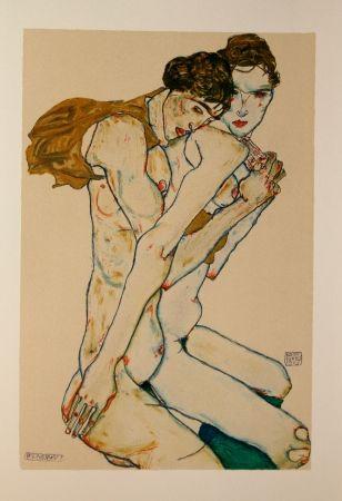 Lithograph Schiele - LES 2 AMIES / FRIENDSHIP - Lithographie / Lithograph - 1913