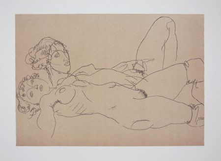Lithograph Schiele - LES 2 FILLES / TWO GIRLS - 1914