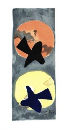 Lithograph Braque - Les 2 oiseaux