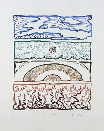Etching Alechinsky - Les 4 éléments