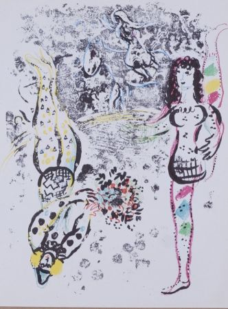 Lithograph Chagall - Les acrobates