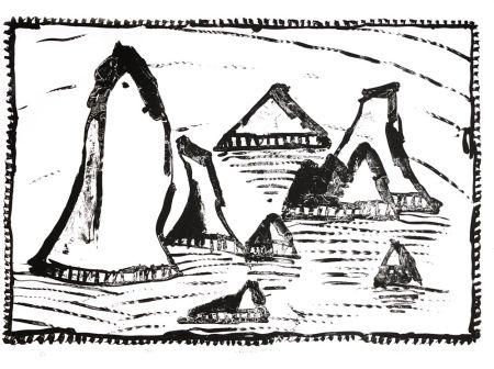 Lithograph Alechinsky - Les Aiguilles de Belle-Ile, Ier état