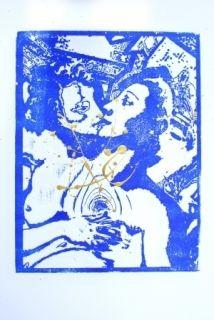 Woodcut Leherpeur - Les Amants