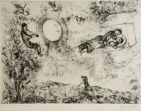 Engraving Chagall -  Les Amoureux Dans Le Ciel De Saint Paul