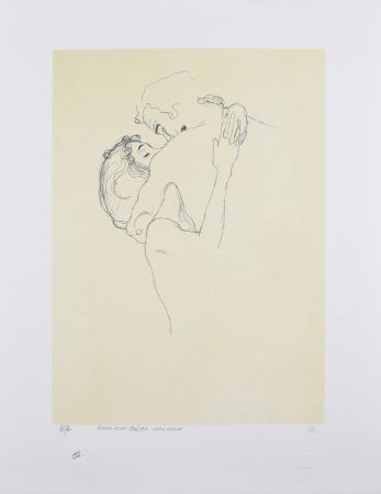 Lithograph Klimt - LES AMOUREUX / LOVERS 1904-1905 / Upper bodies of an embracing couple