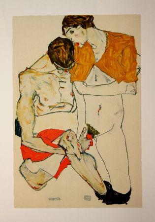Lithograph Schiele - LES AMOUREUX / LOVERS (Egon Schiele & Valerie Neuziel) - Lithographie / Lithograph - 1913
