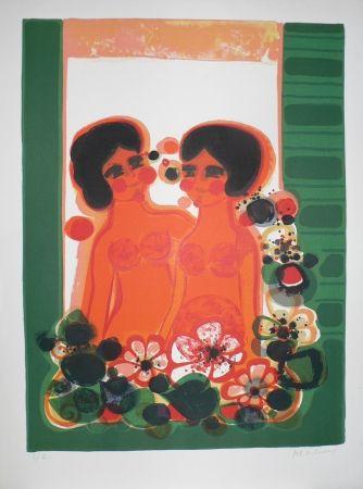 Lithograph Menguy - Les Angéliques : au balcon