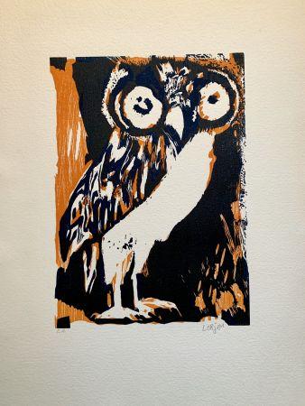 Woodcut Lorjou - Les animaux  : Chouette orange